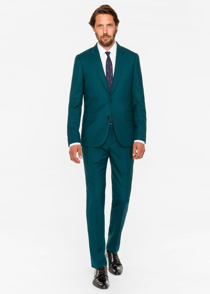 Paul Smith Costume Paul Smith Homme 'A Suit To Travel In' Vert Foncé En Laine Coupe Ajustée