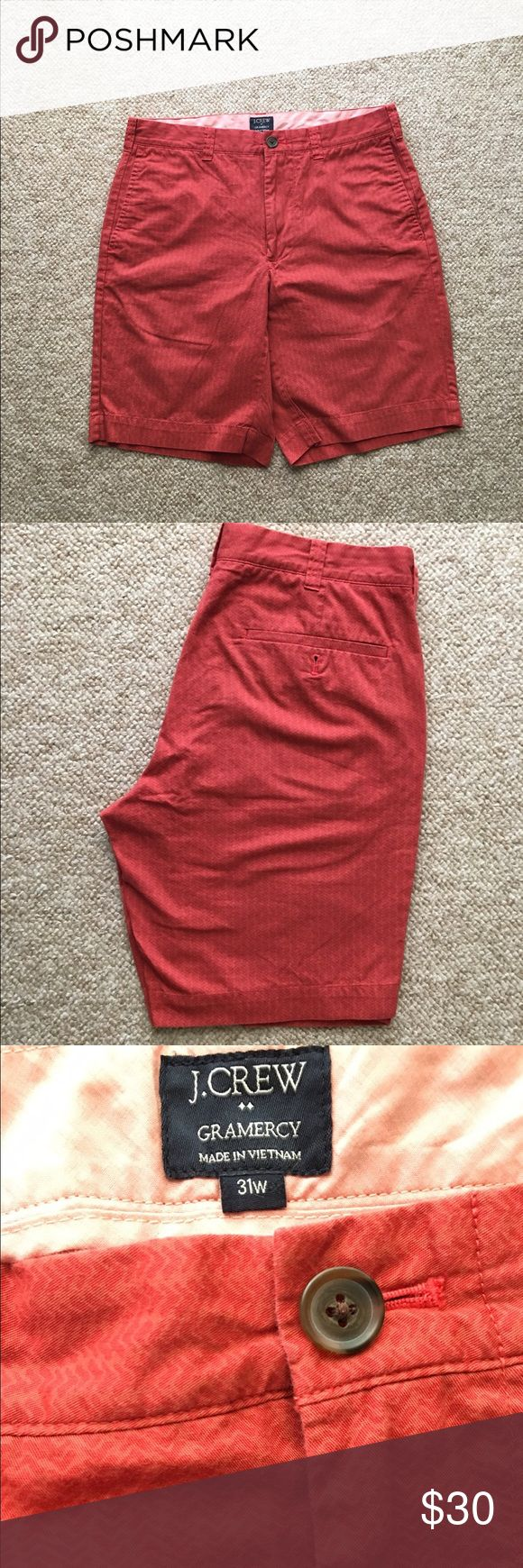 """J. Crew 9"""" Gramercy men's red shorts Men's J. Crew 9"""" inseam shorts. Red herringbone type style. Like new condition. Worn twice last summer, but were outgrown. Size 31 waist. Great for college guys as it's almost a salmon color that is very popular. Pair with a white polo or button down and sperry's for a preppy frat look. 4th photo is of the same style on a model on the j. Crew website, the red shorts are the ones for sale. Make me an offer! J. Crew Shorts Flat Front"""