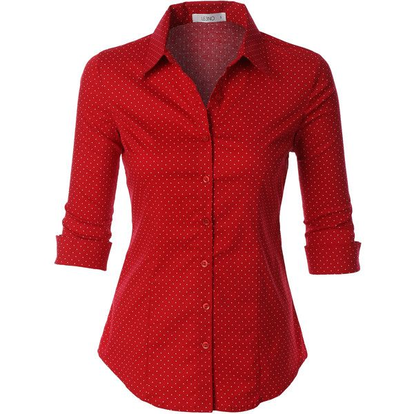 LE3NO Womens Polka Dots Button Down 3/4 Sleeve Tailored Shirt (£17) ❤ liked on Polyvore featuring tops, shirts, blouses, red button up shirt, 3/4 length sleeve tops, three quarter sleeve shirts, 3/4 sleeve tops and red polka dot top