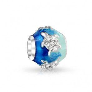 Sterling Silver Blue Ocean Turtle Crystal Charm Fits Pandora
