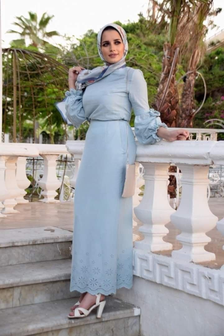 How To Style Light Blue Hijab Outfits Muslim Fashion Dress Muslim Fashion Outfits Fashion Dresses