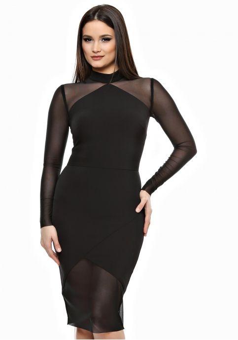 Emily G, rochie elegantă cu mâneci din tulle, neagră