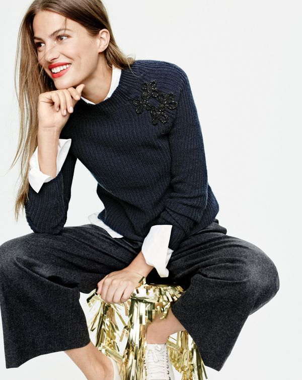 J.Crew women's ribbed sweater with sparkly frog closures and cropped pant.