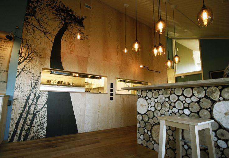 Inredningsprojekt Hattaviken i Varberg. Bardisk i egen produktion och print på plywood. | Format Göteborg
