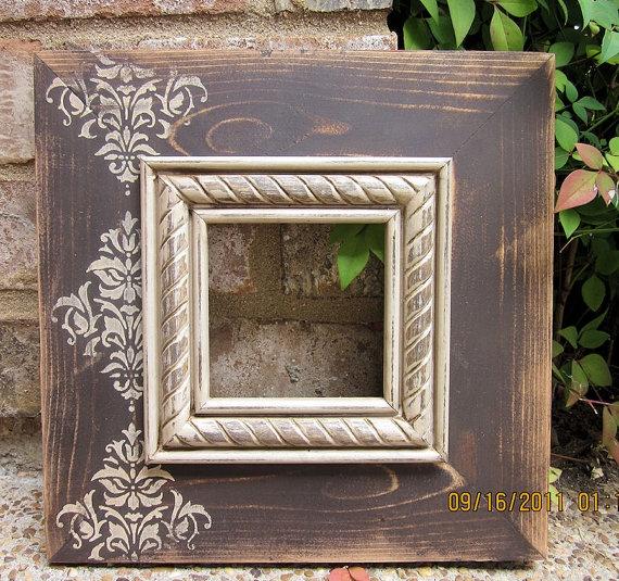 4x4 Distressed Picture Frame Asphaltum / Linen by ShirleyFrames, $33.00