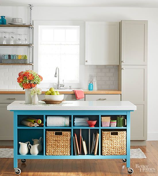 Build your own kitchen island from two sofa tables and a countertop. This custom solution sports plenty of storage, plus DIY bragging rights./