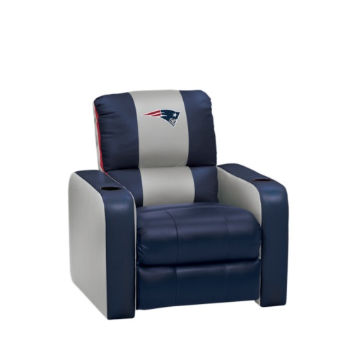 New England S Patriots Blue Gray Leather Recliner