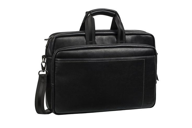 "Rivacase 16"" Laptop Bag, Classic, Strong, Stylish, Black Vegan Leather"