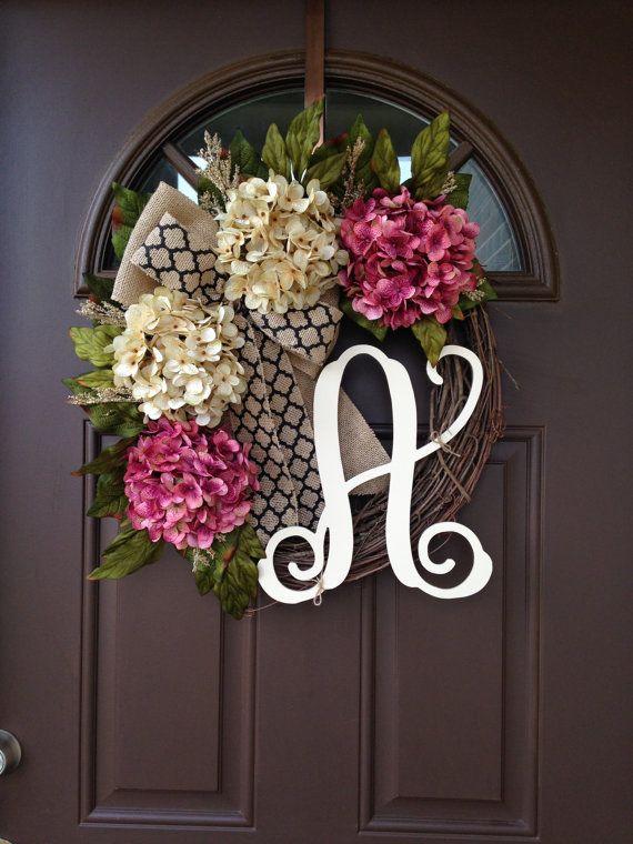 Wreath Hydrangea Wreaths Monogram Wreaths for Front by Flowenka