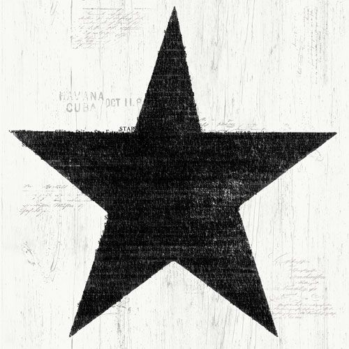 Stora svarta stjärnor på trämönstrad botten från kollektionen Hantverk, 17323. Klicka för fler fina tapeter till ditt hem!