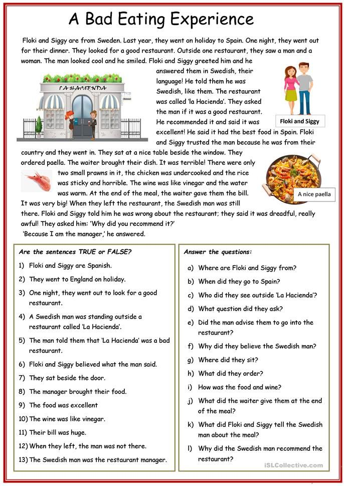 Reading Comprehension A Bad Eating Experience English Esl Worksheets For Distanc In 2021 Reading Comprehension Texts Reading Comprehension Esl Reading Comprehension