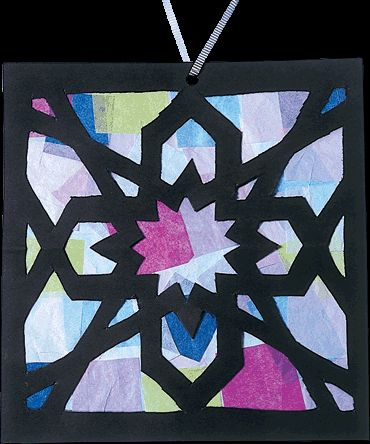 Ramadan Mosaic Sun Catcher Kids Craft Remember the snowflakes we used to make in grade school by folding paper and cutting corners? This is a fabulous adaptation of that that looks very classy. Kids should love it, insha'Allah!
