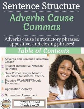 Adverbs create introductory phrases, appositives, and closing phrases! Teach your students how to use adverbs to create sentence variety with adverbs! This Lesson will provide your students with explicit explanations on sentence structure using mentor sentences, bell ringer practice, interactive notebook, practice activities, application activities, and a potential summative assessment!The lesson consists of a PowerPoint/Google Slides to show your students how to craft introductory phrases…