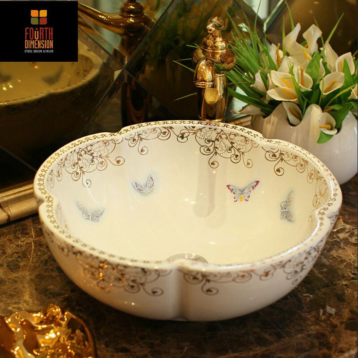 Find More Bathroom Sinks Information about China Artistic Handmade Birds Butterflies White Sink Countertop Ceramic Bathroom Sink,High Quality bathroom sink stand,China bathroom vanity top sink Suppliers, Cheap sink bathroom vanity from The Fourth Dimension Of Life on Aliexpress.com