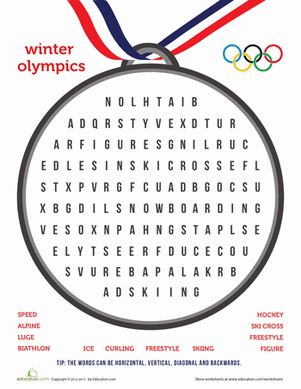 Winter Olympics Worksheets | Winter Olympics Third Grade Puzzles & Sudoku Worksheets: Winter ...