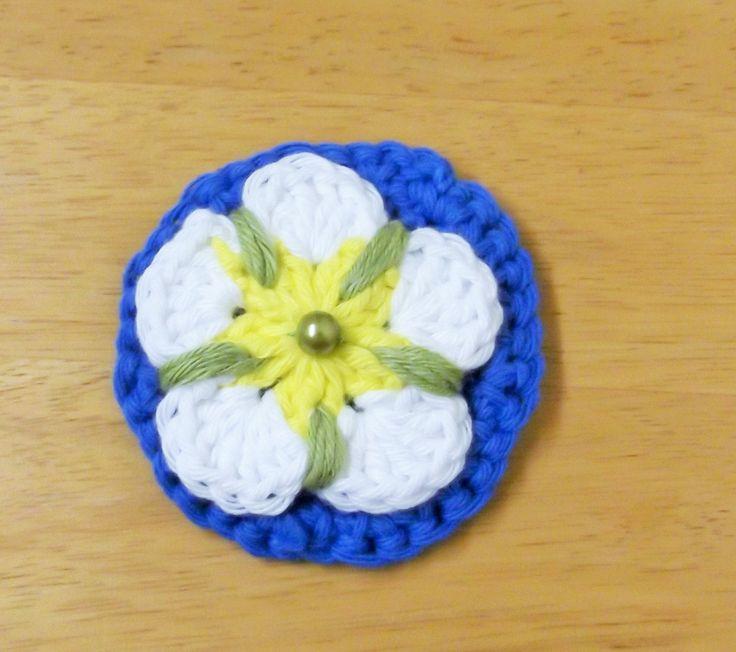 Handmade Crocheted Yorkshire Tudor Rose Flower Flag Brooch, Tour de Yorkshire, Yorkshire Day UK seller. Ready to ship worldwide by HandKnittedYorkshire on Etsy