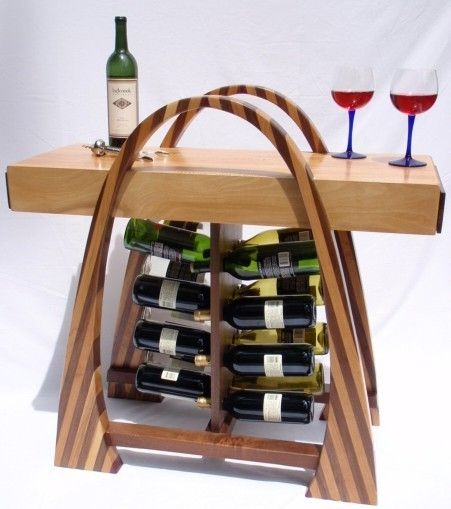 Custom Made Curved Stripey Wine Rack With Butcher Block Top By Furniture Creations