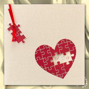 Faire-part de mariage coeur en puzzle rouge - MA13-077