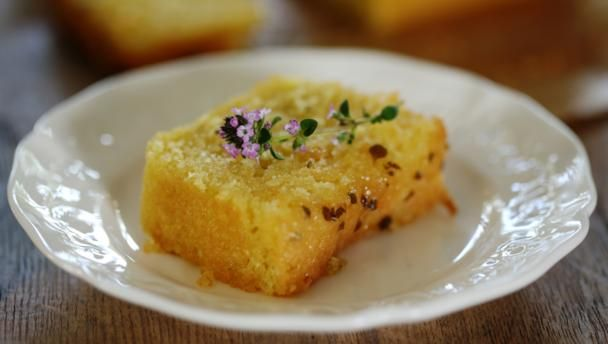 Lemon and thyme cake        A simple, moist lemon sponge soaked with thyme and lemon syrup. Tastes wonderful served with thick, creamy Greek yoghurt.