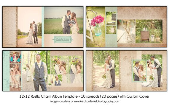 PSD Wedding Album Template - RUSTIC CHARM - 12x12 10spread (20-page)  design with custom cover