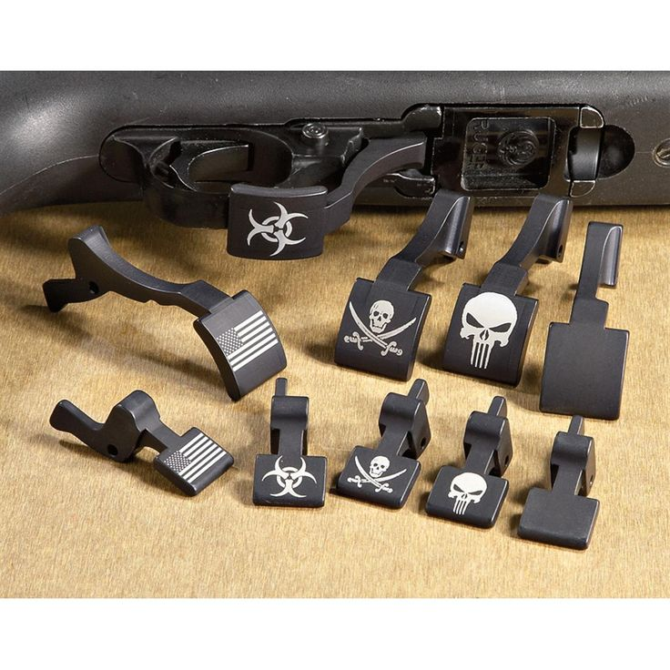 Ruger® 10/22® Mag Releases; From left to right: Flag, Biohazard, Jolly Roger, Punisher, Blank