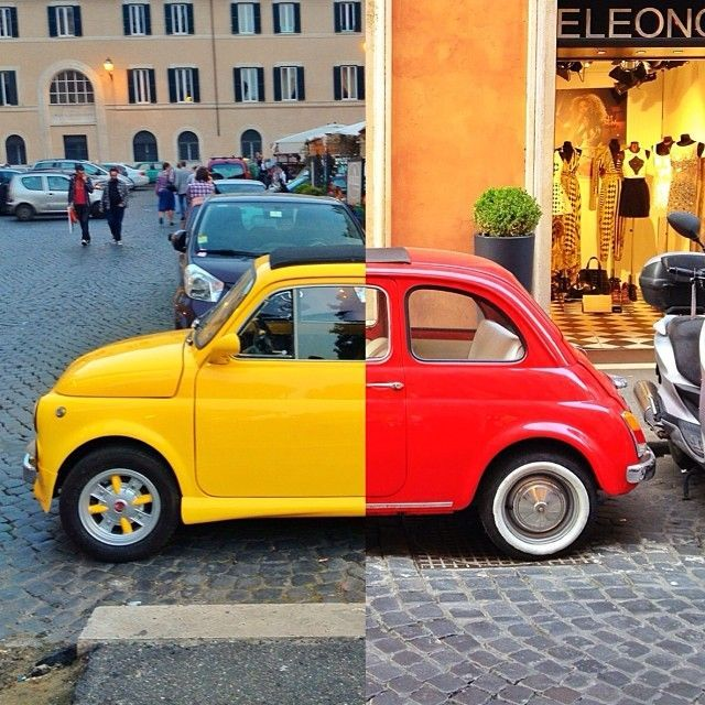 #fiat #fiat500 #bellaitalia #italy #red #yellow #bunt
