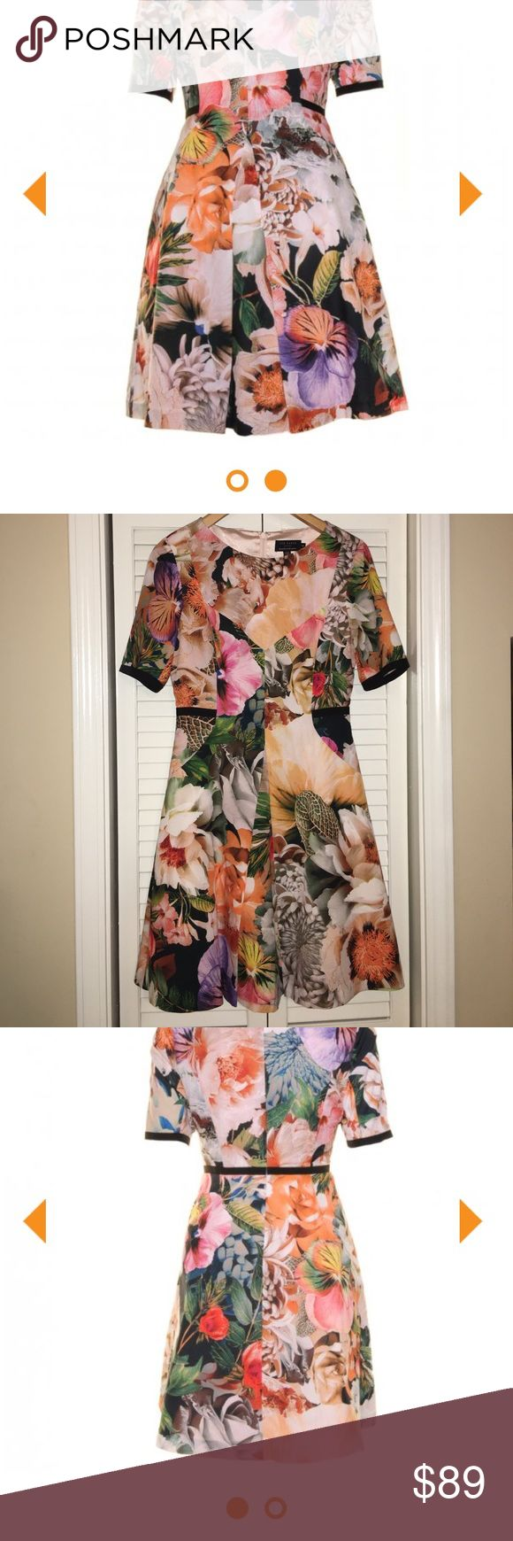 """Ted Baker floral dress Ted Baker London floral dress with black accents. I am famous for buying dresses with intentions of wearing them aaaaall the time to justify buying them in the first place.  I am also more famous for wearing them one time. Enjoy. It's a size 2. I am 5'10"""" and 135 lbs and it fits me fine. Ted Baker London Dresses"""