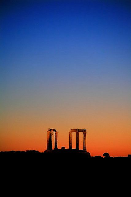 Poseidon Temple Sounion Greece at dusk by Makis Siderakis