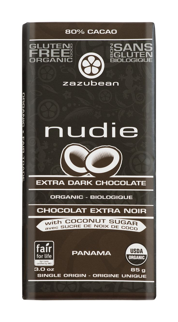 TRY Zazubean's NUDIE - NEW! 80% Extra dark, sweetened with Coconut sugar. This Low glycemic bar is diabetic friendly and great for the dark chocolate lovers
