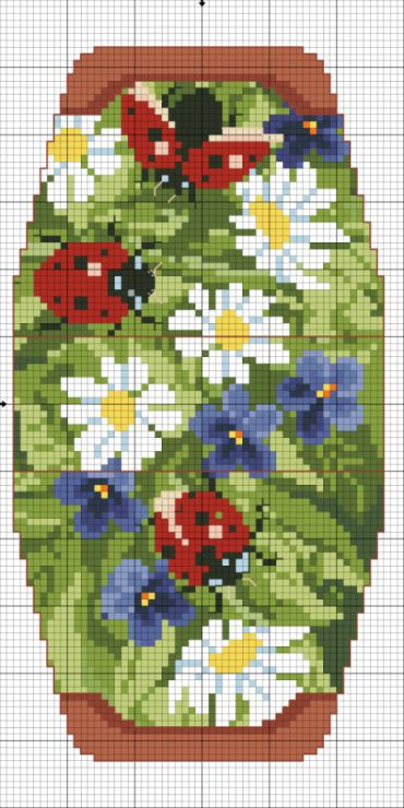 Cross-stitch Flowers & Ladybugs purse... no color chart available, just use pattern chart as your color guide.. or choose your own colors... Gallery.ru / Фото #10 - Сумочка игольница - Gultiera1851