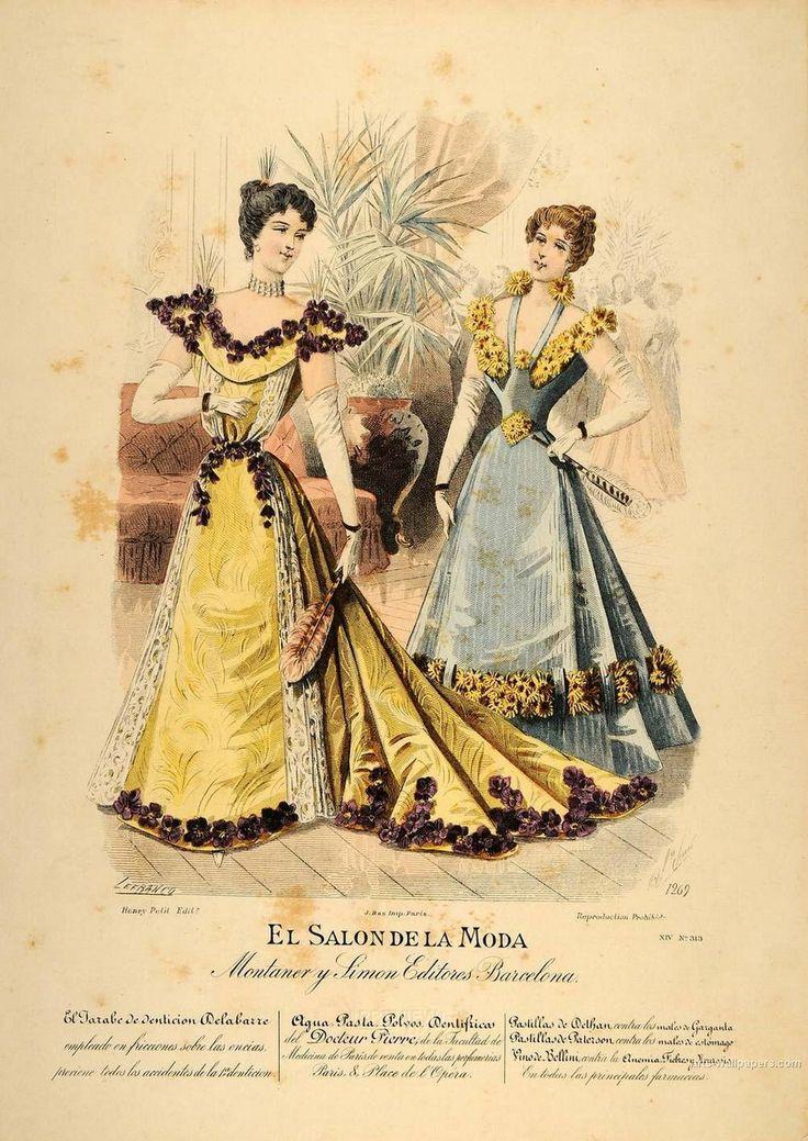 Vintage Hand Coloured Print - El Salon de la Moda, ca. 1897