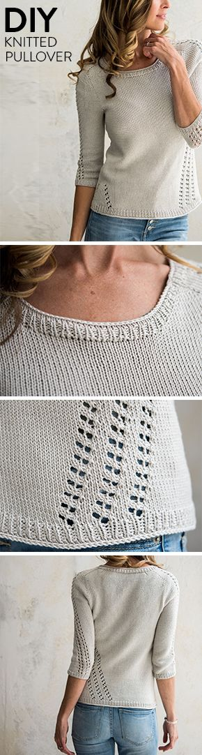Perfect for summer, this light and airy knitted sweater features eyelet designs down the sides and sleeves.