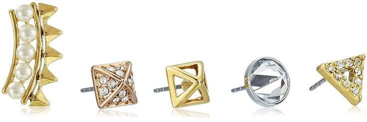 "Rebecca Minkoff ""Singles Club"" Pearl Spike Singles Set Earrings. Five earrings in mixed metals and shapes. Imported."