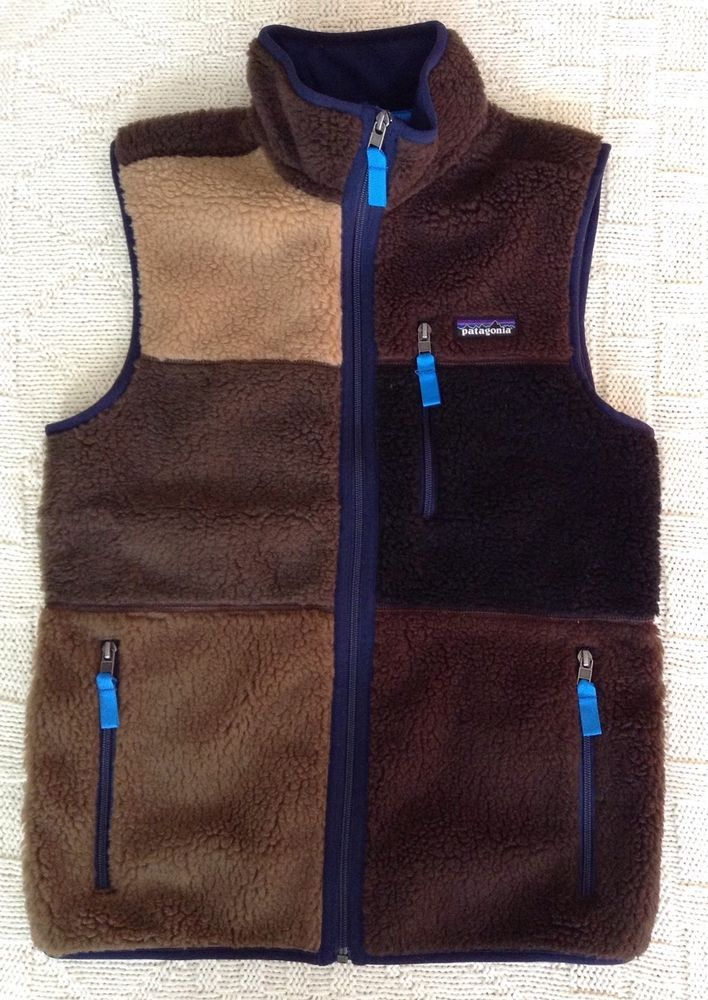 NWT 2014 Special Patagonia Retro X Patchwork Vest Mens XS Full Zip Brown #Patagonia #Vest