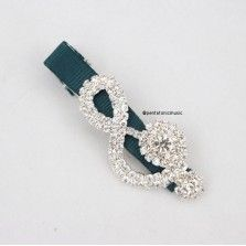Bling Treble Hair Clip - Green