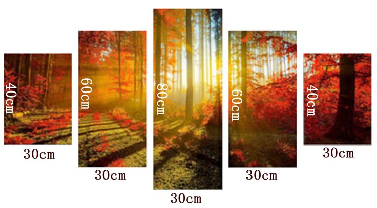 Unframed Red Woods Sunshine Abstract Canvas Wall Painting Picture Home Decor - Newchic