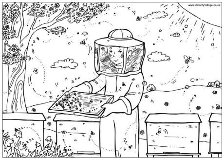 coloring pages with bees - photo#37