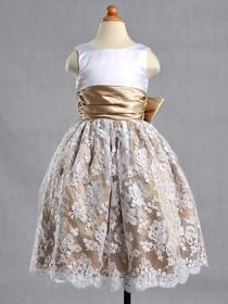 Champagne Ball Gown Round Ankle-length Lace Flower Girl Dress With Sash (4106f)