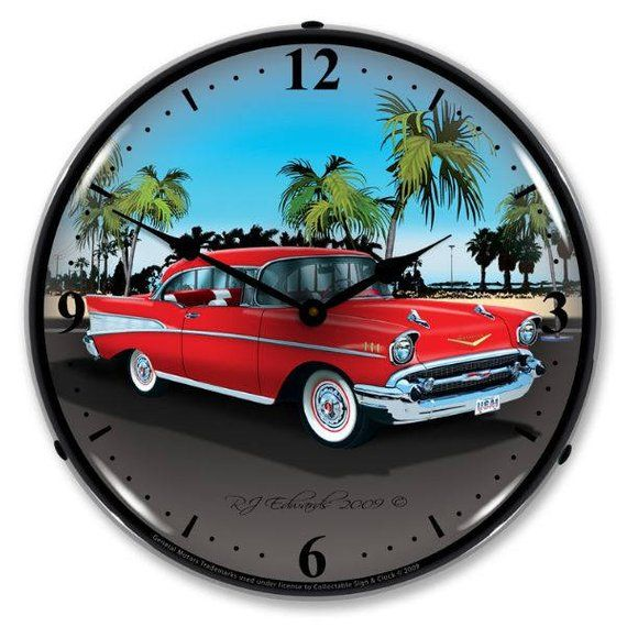 Antique Style 1957 Chevy Backlit Clock 129 99 Car Clock Wall Clock Light Man Cave Lighting