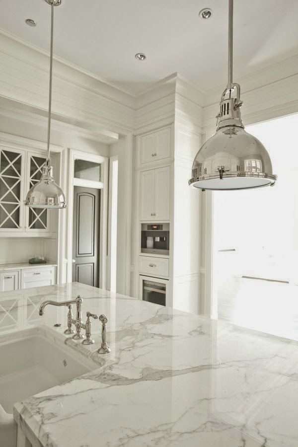 Love marble counters and pendant lighting. I will have both in my new newly remodeled kitchen.