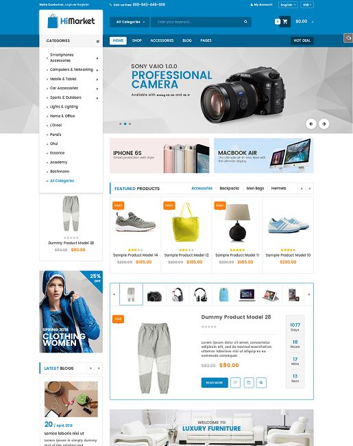 Himarket is a premium WooCommerce technology WordPress theme that is created with elegant and trending design style. This theme is great solution for any online stores specially digital, hitech stores or fashion, accessories stores.