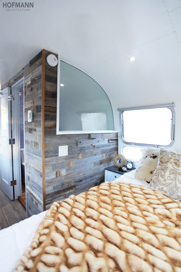 """Luna, A """"Once in a Blue Moon Airstream love the frosted glass in bathroom"""