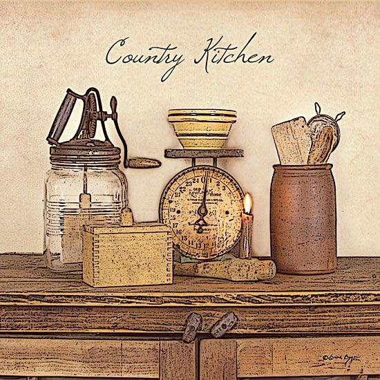 Wall Art Ideas Design : Vintage Old Decorations Country Kitchen ...