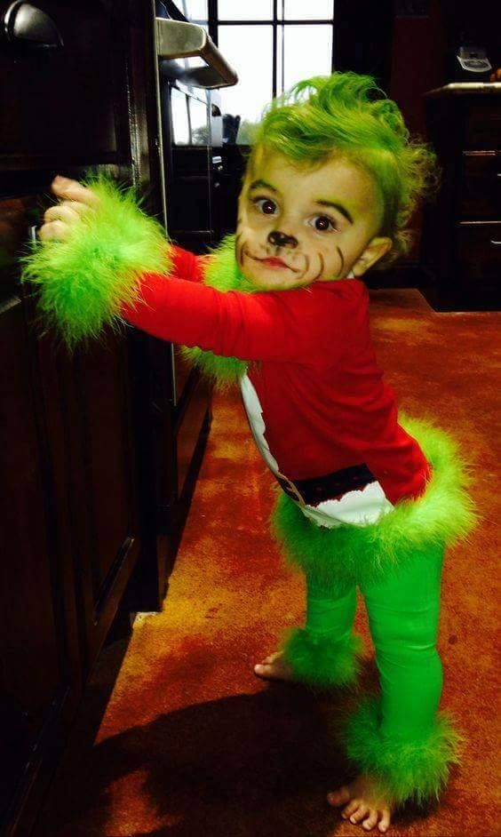Baby Grinch Costume - these are the BEST Halloween Costume ideas for Babies & Kids! This would also be so cute for a Christmas photo!