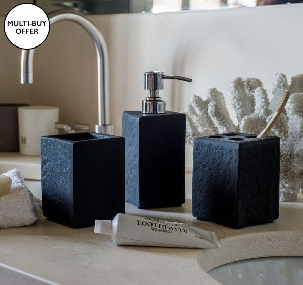 buy black stone bathroom accessories from kelly hoppen london - Bathroom Accessories London
