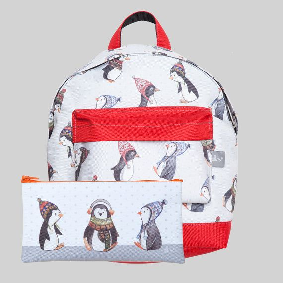 Designvonal Penguin Toddler Backpack Set including backpack and pencil case - kids design