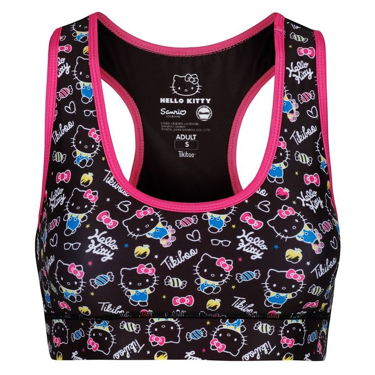 Whether you're pushing yourself with cardio or going hard in the weights room, the Active Black sports bra will support you all the way. Combining our thick under-chest strap for maximum support with comfortable, double-lined fabric, you won't even feel as though you're wearing a sports bra.  The eye-catching design with the fun Hello Kitty design will have you addicted, and thanks to its racer back, it can sit under any vest, adding a pop of colour when needed. #HelloKitty