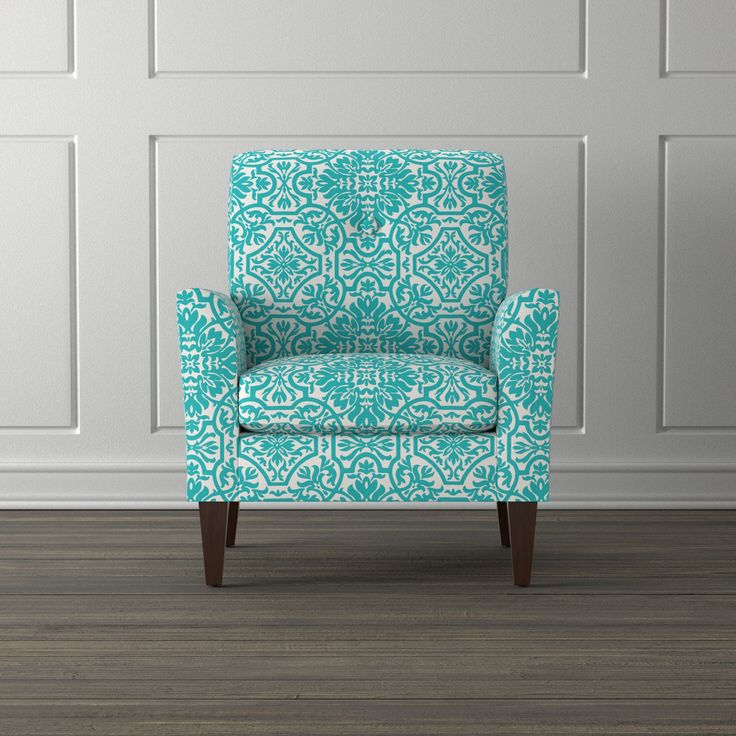 Handy Living Alex Turquoise Damask Arm Chair (Turquoise), Blue (Polyester)
