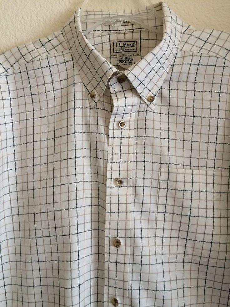 Ll bean men 39 s shirt size xlt tall wrinkle resistant check for Ll bean wrinkle resistant shirts