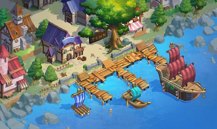 Mobile game seashore , _ understroke on ArtStation at https://www.artstation.com/artwork/4NJW8
